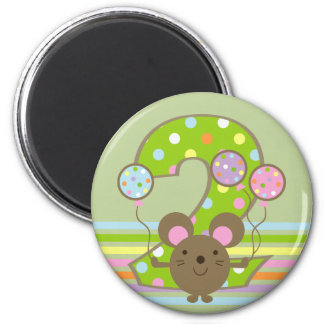 Balloon Mouse Green 2nd Birthday Magnet