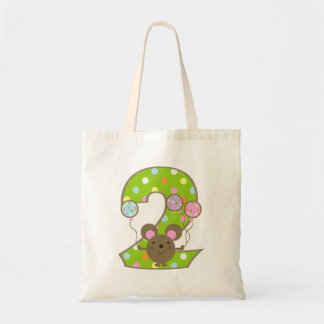 Balloon Mouse Green 2nd Birthday Tote Bag