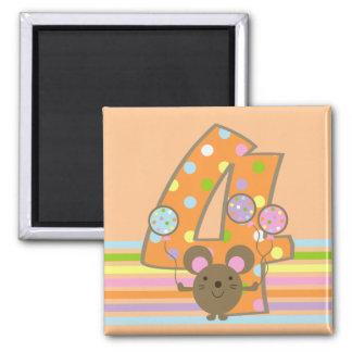 Balloon Mouse Orange 4th Birthday Magnet