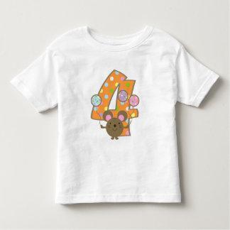 Balloon Mouse Orange 4th Birthday T-Shirt