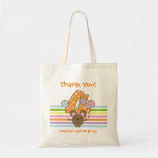 Balloon Mouse Orange 4th Birthday Thank You Budget Tote Bag