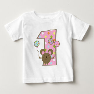 Balloon Mouse Pink 1st Birthday T-Shirt