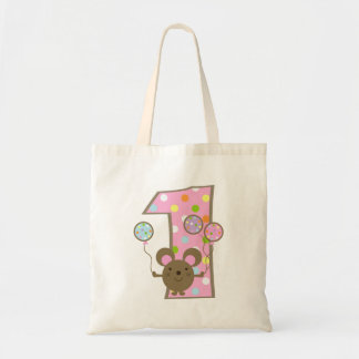 Balloon Mouse Pink 1st Birthday Tote Bag