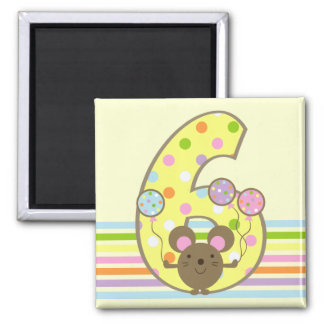 Balloon Mouse Yellow 6th Birthday Magnet