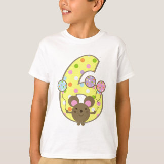 Balloon Mouse Yellow 6th Birthday T-Shirt