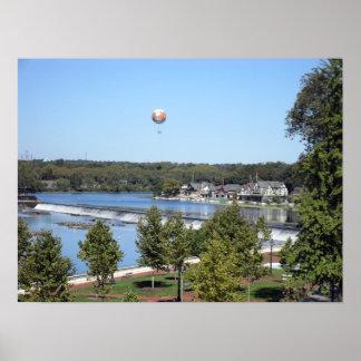 Balloon over Boathouse Row Print