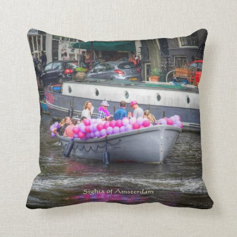 Balloon Party Boat, Sights of Amsterdam Throw Pillow