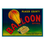 Balloon Pear Crate Label Poster
