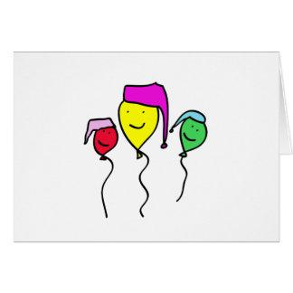 Balloon People in Nightcaps Card