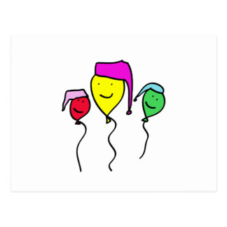 Balloon People in Nightcaps Postcard