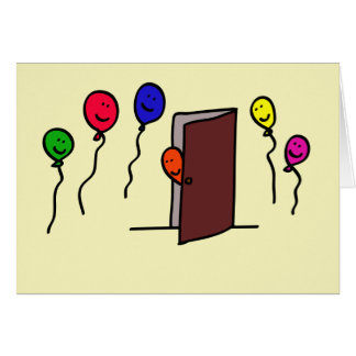 Balloon person coming out of a Closet Greeting Card