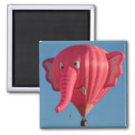 Balloon Pink Elephant 2 Inch Square Magnet