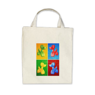 Balloon Poodle Tote Bags