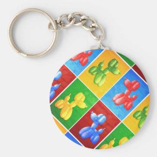 Balloon Poodle Basic Round Button Keychain
