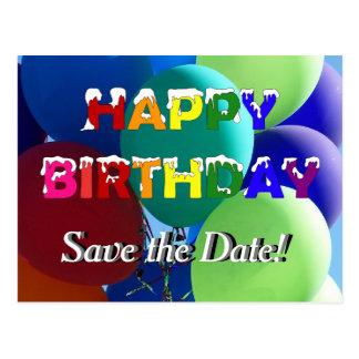 Balloon Rainbow Birthday Save the Date Postcard