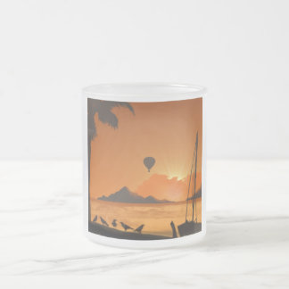Balloon Ride at Sunset 10 Oz Frosted Glass Coffee Mug