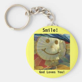 Balloon Smiley Face God Loves You Key Chain