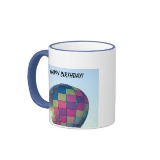 Balloon Sun burst Happy Birthday! Ringer Coffee Mug