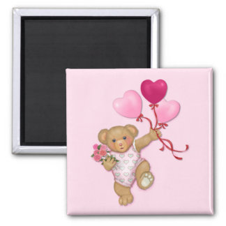 Balloon Teddy 2 Inch Square Magnet