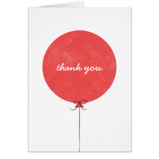 Balloon Thank You Card - Red