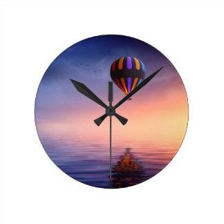 Balloon To The Moon Round Clock