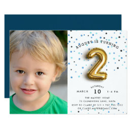 2 year old birthday invitations announcements zazzle balloon type photo second birthday party invite filmwisefo Gallery
