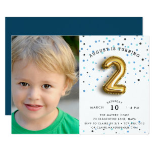2 year old birthday invitations announcements zazzle balloon type photo second birthday party invite filmwisefo