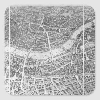 Balloon View of London, 1851 Square Sticker