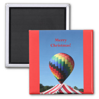 Balloon with Candy Cane Stripe, Merry Christmas! Refrigerator Magnets