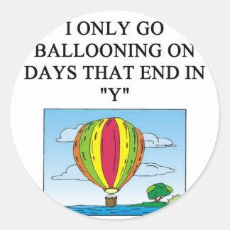 ballooning balloonist classic round sticker