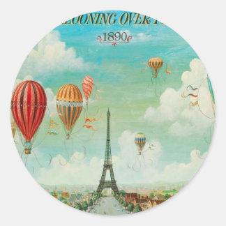 Ballooning Over Paris Classic Round Sticker