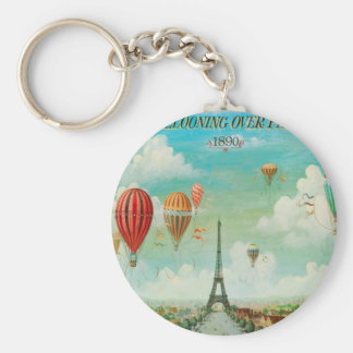 Ballooning Over Paris Keychain