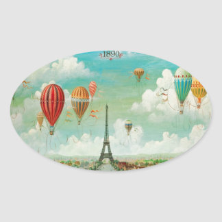 Ballooning Over Paris Oval Sticker