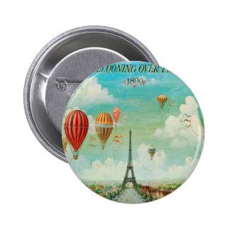 Ballooning Over Paris Pinback Button
