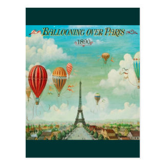 Ballooning Over Paris Postcard