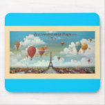 Ballooning Over Paris Print 1890 Mouse Pad