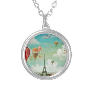 Ballooning Over Paris Round Pendant Necklace