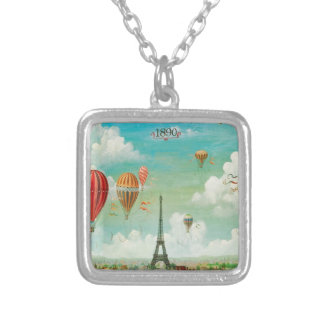 Ballooning Over Paris Square Pendant Necklace