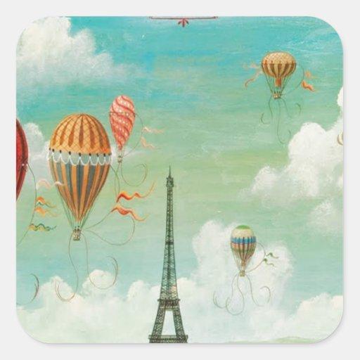 Ballooning Over Paris Square Stickers