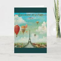 Ballooning Over Paris Vintage Travel Artwork