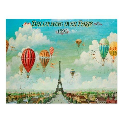 Ballooning Over Paris Vintage Travel Postcard Zazzle