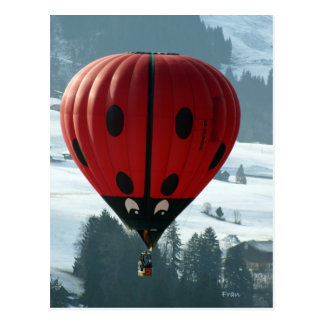 ballooning with lady bug postcard