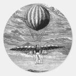 Balloonist del globo del vintage con el paracaídas etiqueta redonda