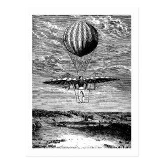 Balloonist del globo del vintage con el paracaídas postales