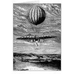 Balloonist del globo del vintage con el paracaídas tarjeton