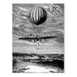 Balloonist del globo del vintage con el paracaídas tarjeta postal