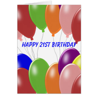 Balloons 21st Birthday Card