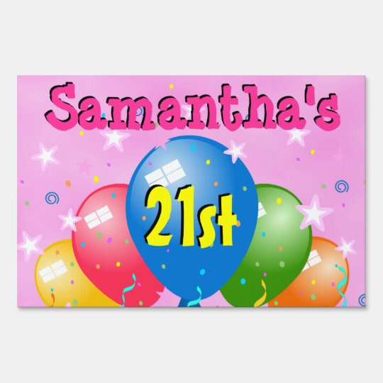 Balloons 21st Birthday Party Age Custom Yard Sign