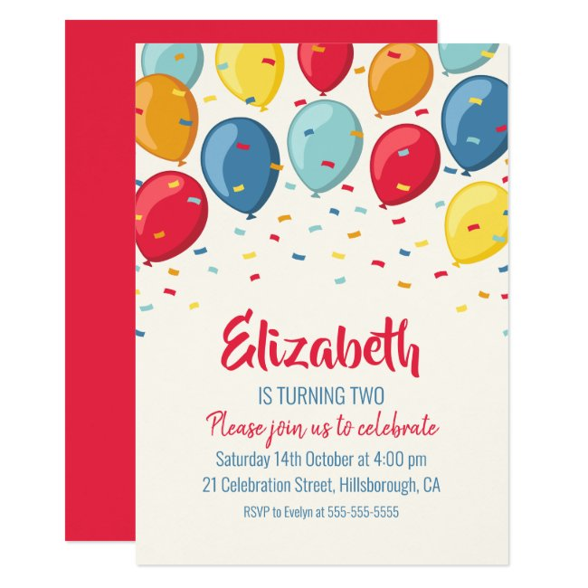 Balloons 2nd Birthday Party | Kids Second Birthday Invitation