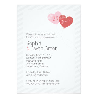 "Balloons 4.5""x6.25"" Wedding Anniversary Invitation"